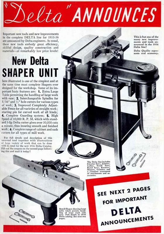 Delta Manufacturing Co 1935 Ads Ld Shaper Belt Driven