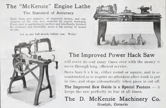 D. McKenzie Machinery Co. - 1917 ad - McKenzie engine lathe, power hacksaw | VintageMachinery.org