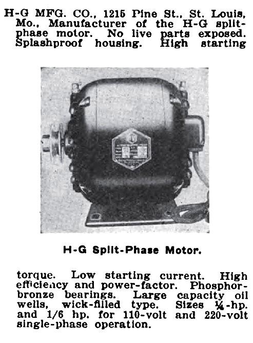 H-G Manufacturing Co. - 1921 Ad-H-G Mfg. Co., Split Phase ...