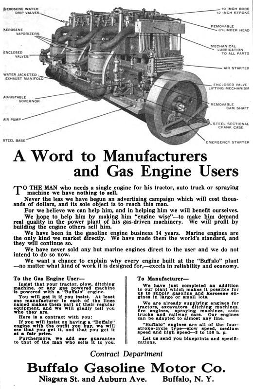 Buffalo Gasolene Motor Co 1913 Ad Buffalo Gasoline