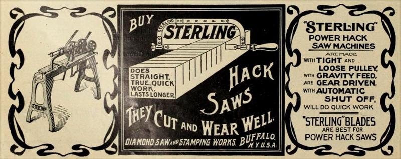 Diamond Saw & Stamping Works - 1906 ads - Sterling hack saws