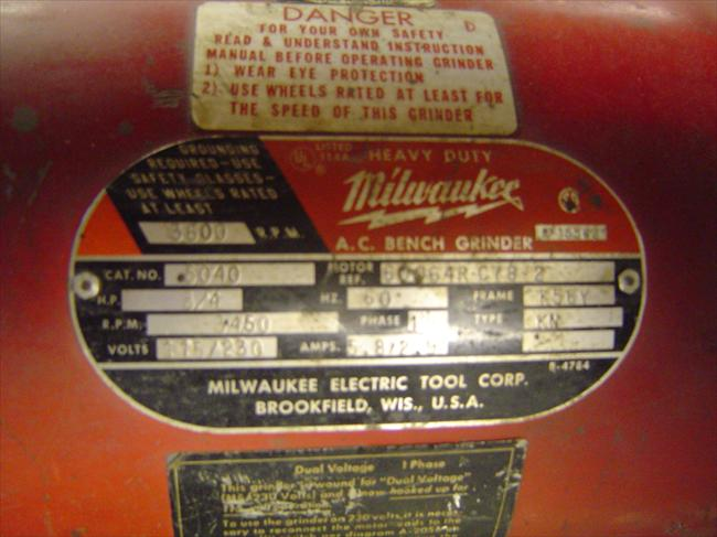 Vintage Milwaukee Electric Bench Grinder
