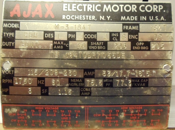 photo index ajax electric motor corp m 3 184t drip