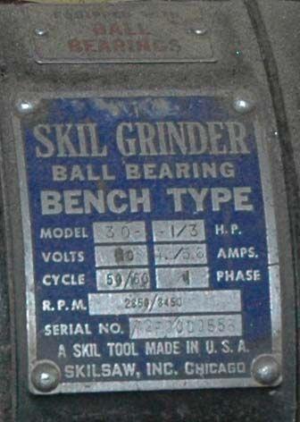 Photo Index Skil Corp Grinder Model 30
